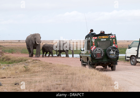 Elefantenfamilie Fuß Straße in Richtung Toyota Landcruiser in Amboseli National Park Kenia in Ostafrika - Stockfoto