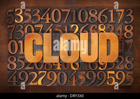 Cloud-computing-Konzept - Wort in Vintage Buchdruck Holzart Nummer Hintergrund - Stockfoto