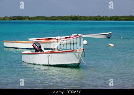 Kleine Fischerboote vertäut im Lac Bay, Bonaire. Mangrovenbäume sehen am anderen Ufer - Stockfoto