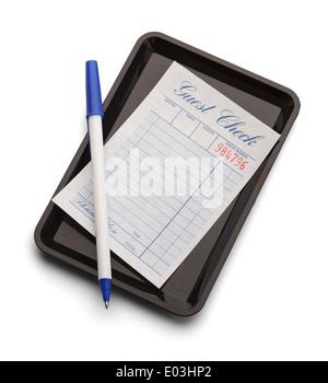 Schwarze Schale mit blau kariert und Stift isoliert auf einem weißen Hintergrund. - Stockfoto