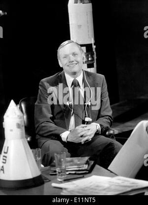 Astronaut Neil Armstrong filmt französischen TV-show - Stockfoto