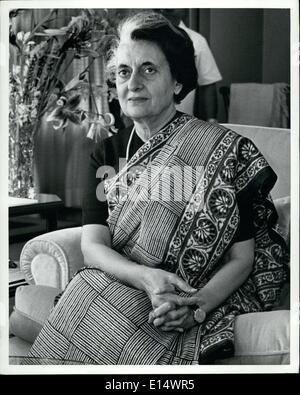 18. April 2012 - indische Premierministerin Indira Gandhi. - Stockfoto