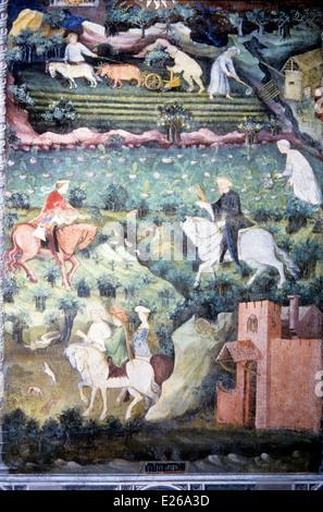 September, Halle der Monate, Torre Aquila, Schloss Buonconsiglio, Trento, 14.-15. Jahrhundert - Stockfoto