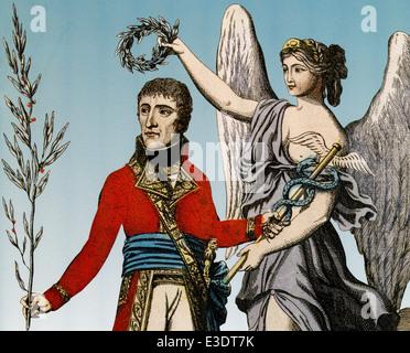 NAPOLEON BONAPARTE (1769-1821) gezeigt Befriedung als Erster Konsul in einer handkolorierten Illustration im Jahre - Stockfoto