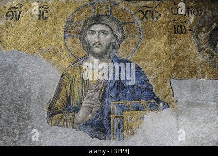 Hagia Sophia. Die Deesis Mosaik. Detail der Christ in der Majestät. 13. Jahrhundert. Istanbul. Turkei. - Stockfoto