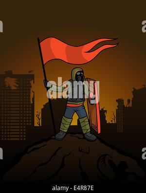 Man wirft eine Fahne über der zerstörten Stadt. Fahnenträger auf dem Berg nach dem Krieg. - Stockfoto