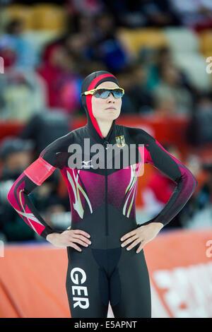Gabriele Hirschbichler (GER) im Wettbewerb mit 1500 m Frauen Eisschnelllauf bei den Olympischen Winterspiele Sotschi - Stockfoto