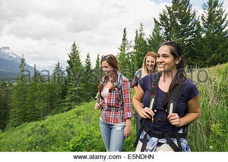 Freunde auf Trail in der Nähe von Bergen wandern - Stockfoto