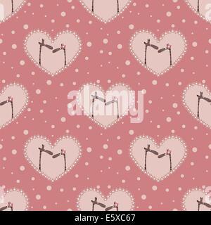 Valentinstag-Muster mit zwei liebevolle Giraffen - Stockfoto