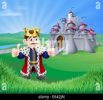 Ein Beispiel für einen Cartoon König geben einen Daumen nach oben und Märchenschloss in grüne Landschaft mit sanften - Stockfoto