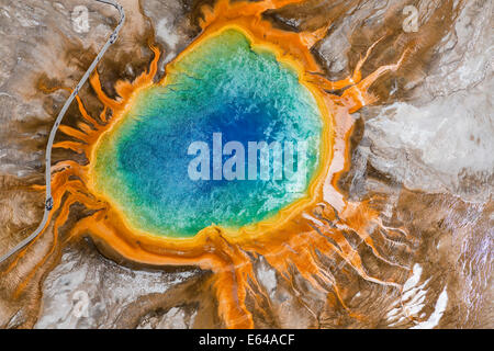 Grand Prismatic Spring, Midway Geyser Basin, Yellowstone-Nationalpark, Wyoming, USA - Stockfoto
