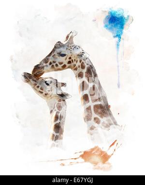 Digitales Aquarell von Mutter und Baby Giraffen - Stockfoto