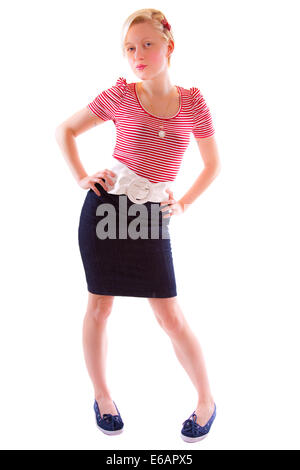 junge Frau, Frau, Rock, Gürtel - Stockfoto