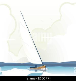 Bearbeitbares Vektor-Illustration eines Mannes eine Segelyacht auf ruhigem Wasser - Stockfoto