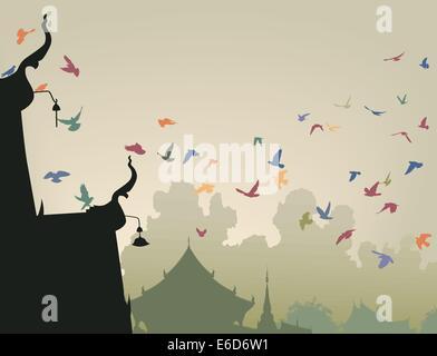 Vektor-Illustration von bunten Tauben fliegen zu einem buddhistischen Tempel Dach - Stockfoto
