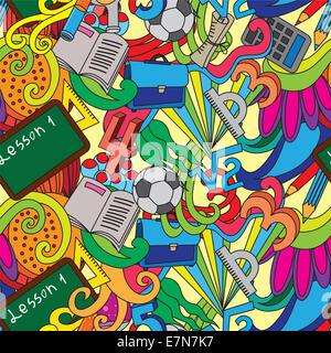Nahtlose Muster mit Schule doodles - Stockfoto