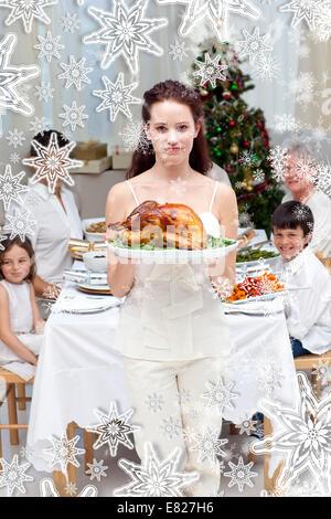 Weihnachten tisch zum abendessen mit gebratenem fleisch in weihnachten stil mit gl sern - Glaser dekorieren fur weihnachten ...