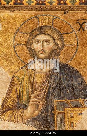 Jesus in der Deesis Mosaik der Hagia Sophia, Istanbul, Türkei. - Stockfoto
