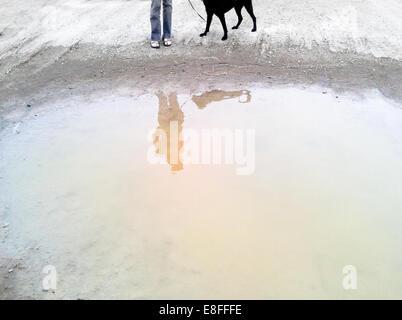 Reflexion in Pfütze - Stockfoto
