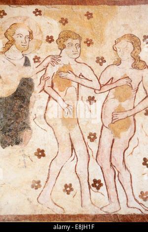 Adam und Eva verbannt aus dem Garten Eden. Wandbild: XII, XVI. Jahrhunderts. Kirche von Moutiers. - Stockfoto