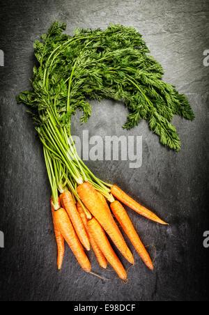 Handvoll frische landwirtschaftliche Karotten mit ihren grünen fährt um einen Bauernmarkt, liegend auf einem alten - Stockfoto