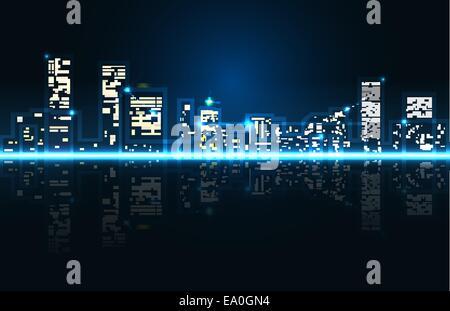 Vektor-abstrakte Stadtbild, 10 Eps-Datei, Verlaufsgitter und Transparenz verwendet - Stockfoto