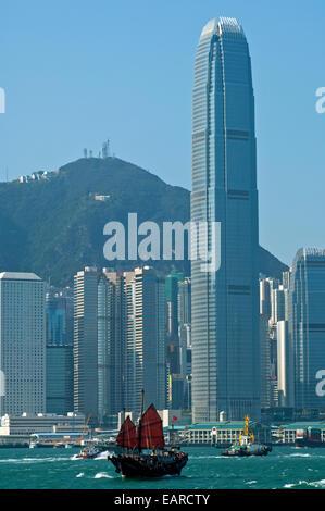 Tower 2, International Finance Centre oder 2 IFC und andere Wolkenkratzer im Central District, Hong Kong, Hong Kong, - Stockfoto