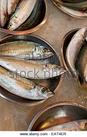 Fisch zum Verkauf an ein Straßenmarkt im Central District. - Stockfoto