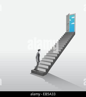 Geschäftsmann, Treppensteigen, offene Tür zeigt sky - Stockfoto