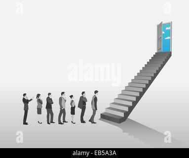 Geschäftsleute in Warteschlange, Treppen steigen - Stockfoto