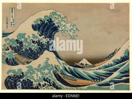 Kanagawa Oki Nami ura, die große Welle off Shore von Kanagawa., Katsushika, Hokusai, 1760-1849, Künstler, [zwischen - Stockfoto
