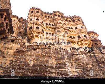Mehrangarh Fort und Palast in Jodhpur, Rajasthan, Indien - Stockfoto