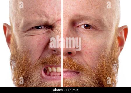 wütend und traurig Gesicht isoliert - Stockfoto