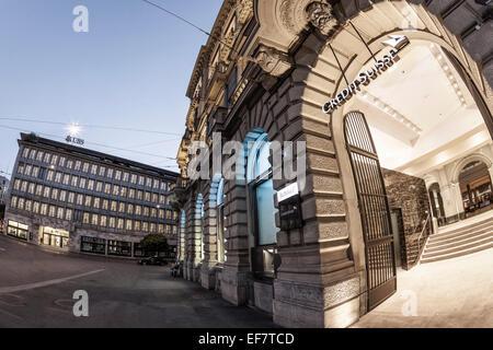 Paradeplatz, Credit Suisse, UBS, Schweiz, Zürich, - Stockfoto