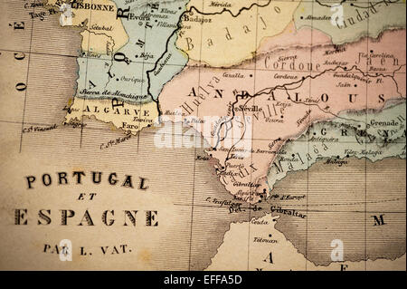Antike französische Landkarte von Nouvel Atlas Classique c: 1869. Selektiven Fokus auf Spanien und Portugal und - Stockfoto