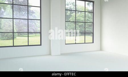 3D-Rendering des leeren Raum mit Fenstern - Stockfoto