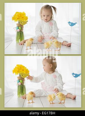 Collage von Fotos des Mädchens mit Down-Syndrom und Hühner - Stockfoto