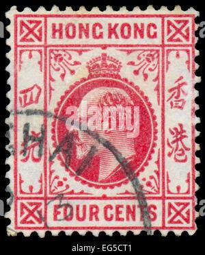 HONG KONG - ca. 1907: Eine Briefmarke gedruckt in HONG KONG zeigt Bild von George V war König des Vereinigten Königreichs - Stockfoto