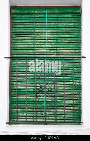 Grüne Jalousie hält das Sonnenlicht durchdringt das Fenster eines andalusischen Hauses. - Stockfoto
