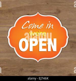 """Vintage Orange Schild """"geöffnet"""" - Stockfoto"""
