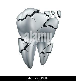 Abgebrochenen Zahn dental Symbol und Zahnschmerzen Zahnmedizin Konzept als eine einzelne rissige beschädigten Backenzahn - Stockfoto