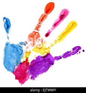 Nahaufnahme von farbigen Handabdruck auf weißem Hintergrund - Stockfoto