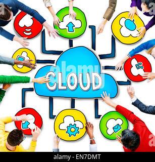 Luftbild von Menschen und Cloud Computing-Konzepte - Stockfoto