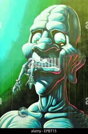 NOTTINGHAM, UK - 1. April 2015: Detail des abstrakten Graffiti Streetart Darstellung eine Monster in Nottingham - Stockfoto