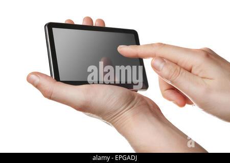 Tablet-pc mit Touch-Screen in Händen isoliert - Stockfoto