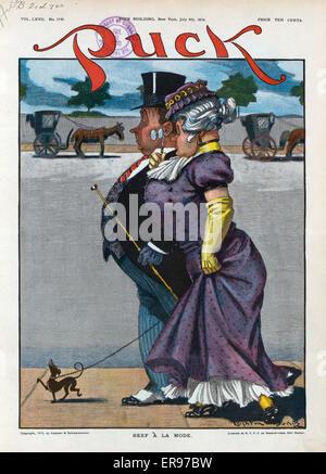 Rindfleisch ein la mode. Abbildung zeigt eine High-Society Paare, die ihren kleinen Hund, wen das gleiche Verhalten - Stockfoto