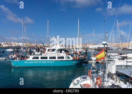 Corralejo Marina, Glasbodenboot, Fuerteventura, Kanarische Inseln, Spanien - Stockfoto