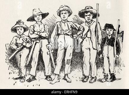 """Tom Sawyer und seine Bande von Räubern - Protagonisten von Mark Twains Roman """"Die Abenteuer des Huckleberry Finn"""" - Stockfoto"""