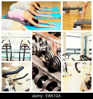 Zusammengesetztes Bild der Yoga-Kurs in Childs posieren im Fitness-studio - Stockfoto