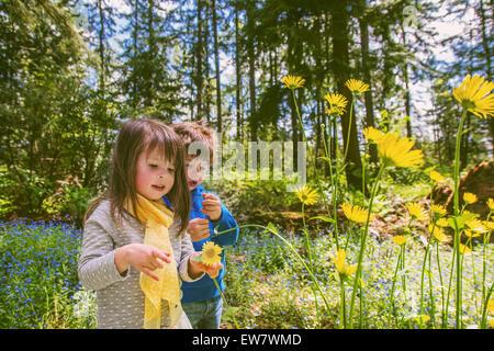 Jungen und Mädchen Blumenpflücken in Landschaft - Stockfoto